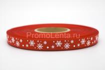 Лента с шелкографией красная «Снежики»